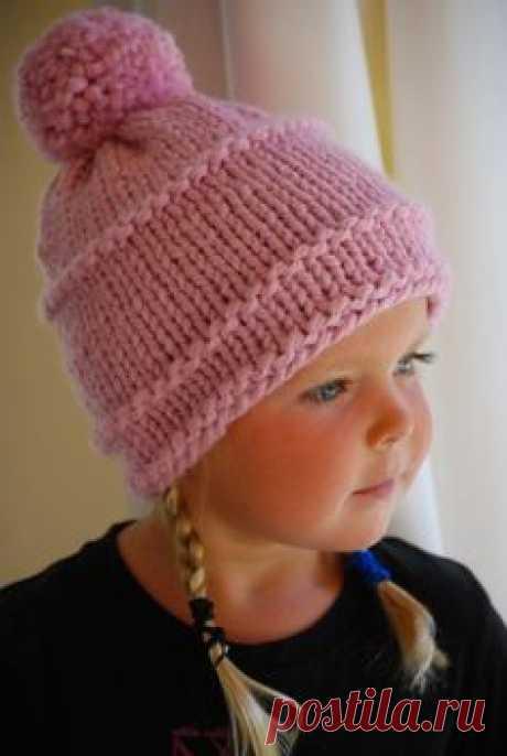Girls Pale Pink Beanie Hand Knit Child's Hat Soft by AquaLumen, $29.00