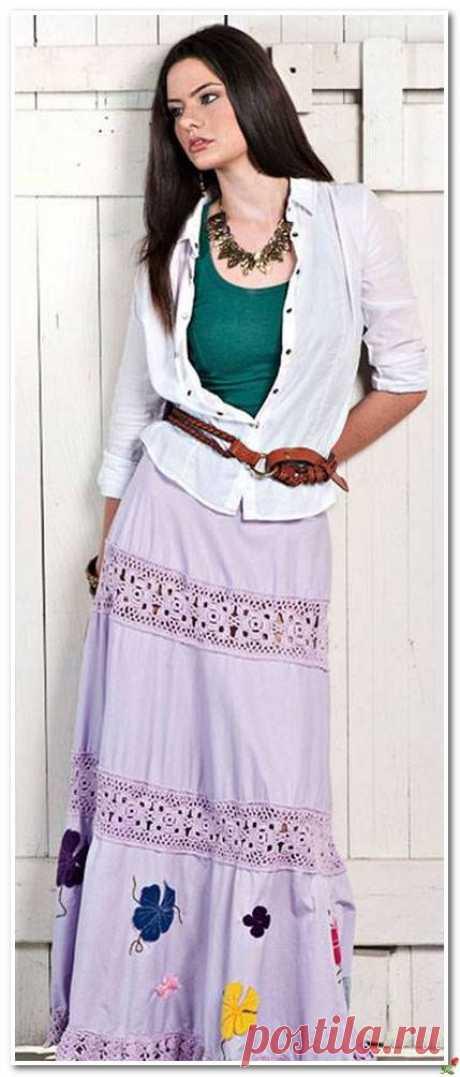 Украшаем юбку вышивкой и вязанной каймой.