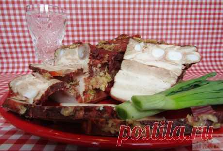 Грудинка горячего засола в луковой шелухе — Кулинарная книга - рецепты с фото