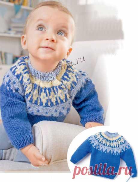 Вязание спицами. Жаккард. Пуловер на малыша.