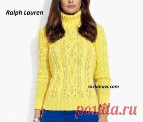 Яркий свитер спицами от Ralph Lauren - СХЕМА