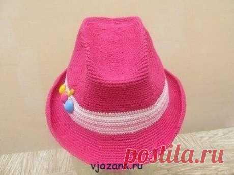Шляпка с тульей для юной леди   Вязана.ru