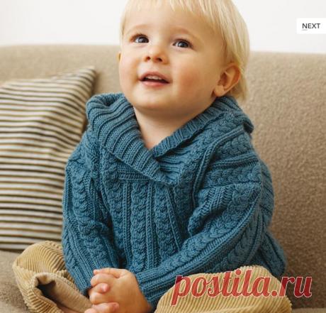Пуловер спицами мальчику.