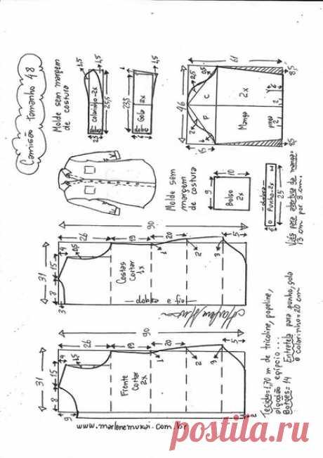 Платье-рубашка, выкройка от Marlene Mukai на размеры с 36 по 52 (евр.). #простыевыкройки #простыевещи #шитье #платье #рубашка #выкройка