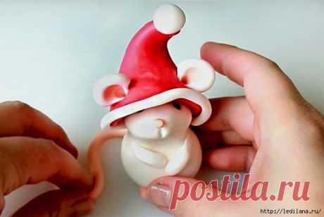 Белая крыса из пластилина своими руками на Новый год