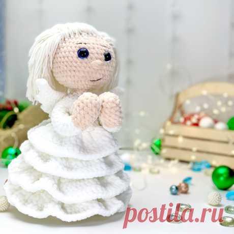 """Схема вязания """"Ангелочек крючком"""" от LanaMi toys, амигуруми ангел, новогодний ангелок, праздничный ангелочек, описание вязания ангела"""