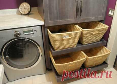 Корзина для белья в ванной: варианты и идеи В условиях квартиры, даже современной, редко удается выделить место для обособленной постирочной. Обычно функцию домашней прачечной выполняет ванная. А это значит, что в ней нужно разместить не только стиральную машину, но и место для хранения вещей, ожидающих стирки. Корзина для белья в ванной (фото).