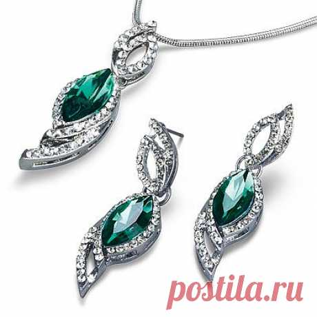 Shine of Emeralds set: necklace + earrings - Women's jewelry - Health and beauty: MeggyMall.ru Online store - 899p.
