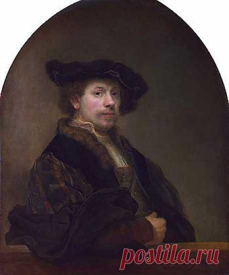 Автопортрет. Он облачён в богатую одежду с мехами, массивной цепью, драгоценностями. Взгляд меланхоличный, с осознанием своего достоинства.В правом нижнем углу на парапете хорошо видна подпись Rembrandt f. (Rembrandt fecit) и дата. Ниже нанесена надпись conterfeycel (правильнее conterfeytsel), что в переводе со старо-голландского означает «портрет».
