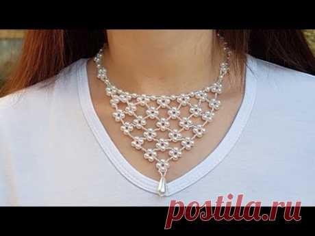 Beaded necklace/Pearl necklace/Жемчужное ожерелье/Жемчужное колье