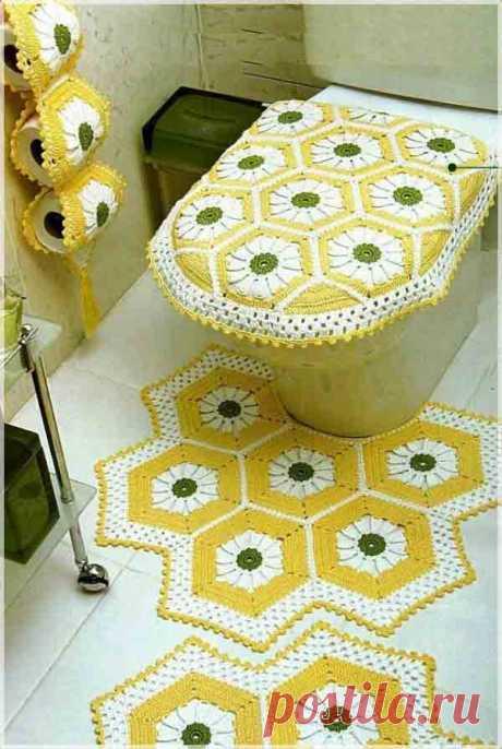 Вязанные коврики в ванную комнату из шестиугольных мотивов | Уют и тепло моего дома