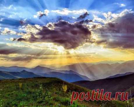 Картинки турция, горы, холмы, луга, природа, пейзаж, тучи, небо, лучи, закат - обои 1280x1024, картинка №281196