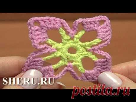 Crochet Square Flower Motif Урок 40 часть 1 из 2 Яркий и простой цветочный мотив