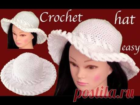 Sombrero a Crochet en punto de argollas en 3D tejido tallermanualperu - YouTube