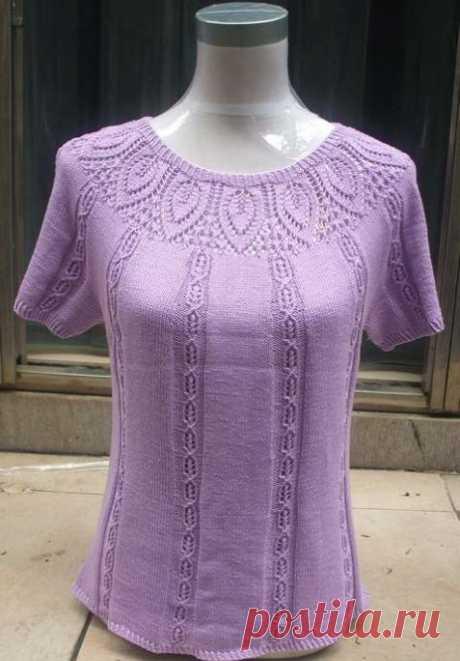 Сиреневая блузка спицами схемы. Блузка спицами с круглой кокеткой | Вязание для всей семьи