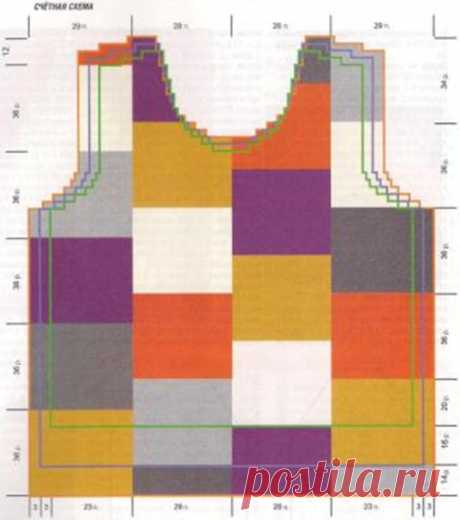Пуловер с цветными квадратами