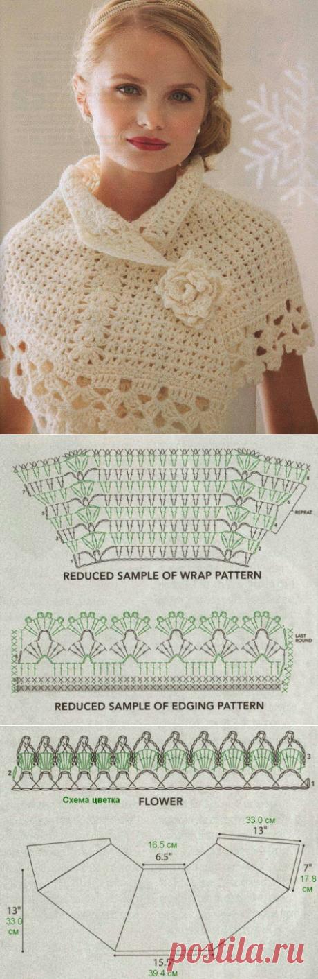lo spazio di lilla: Romantico coprispalle crochet con schemi\/Romantic crochet capelet with pattern