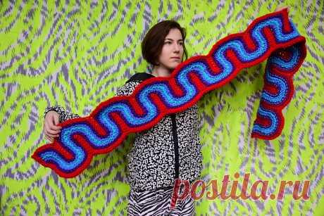 """шарф """"Конфетная лента"""" спицами - оригинальный дизайн Ксанди Петерс . LiveInternet"""
