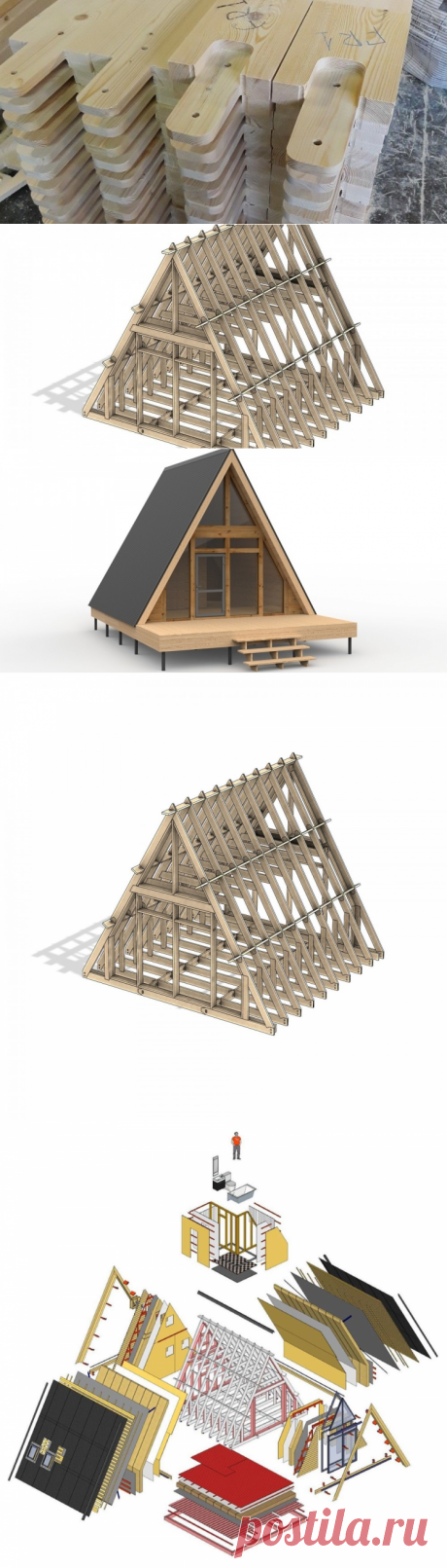 Теплый дом с антресолью из деревянных деталей ⋆ DomaStroika.com