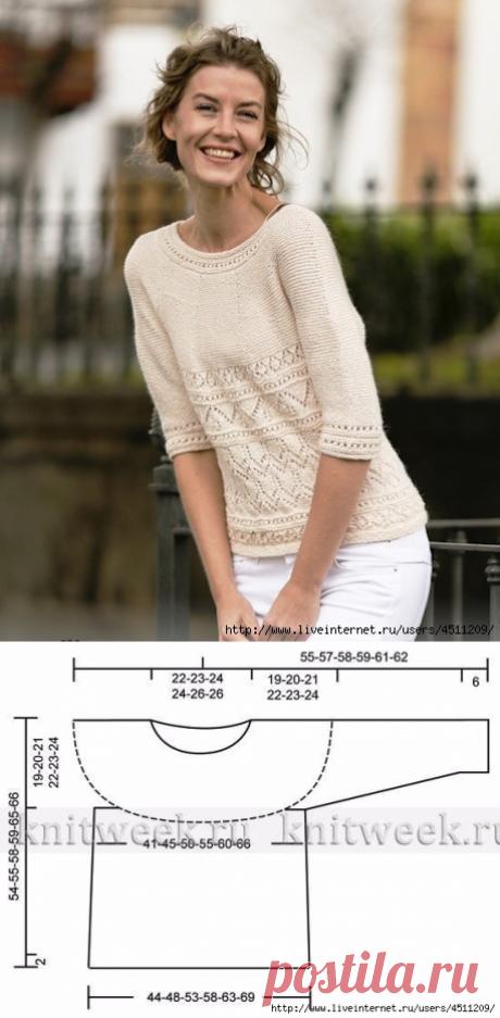 Пуловер с рукавом 2\3.