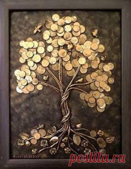 Картина панно рисунок Ассамбляж Пуговичная яблоня Пуговицы