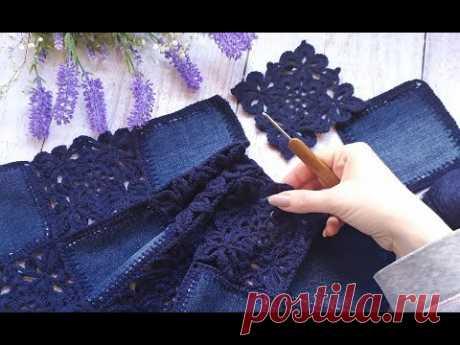 """Кардиган """"Jeans"""". Крючок + ткань. Часть 4. Соединение мотивов."""