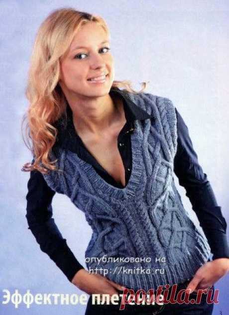 Вязаный жилет с узорами из кос, схема вязания жилета и описание, Вязание для женщин