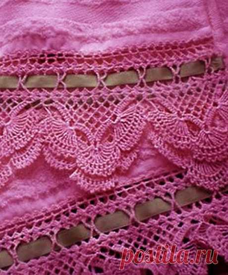 Красивая вязаная кайма - в сочетании с натуральной тканью - очень изящно! из категории Интересные идеи – Вязаные идеи, идеи для вязания