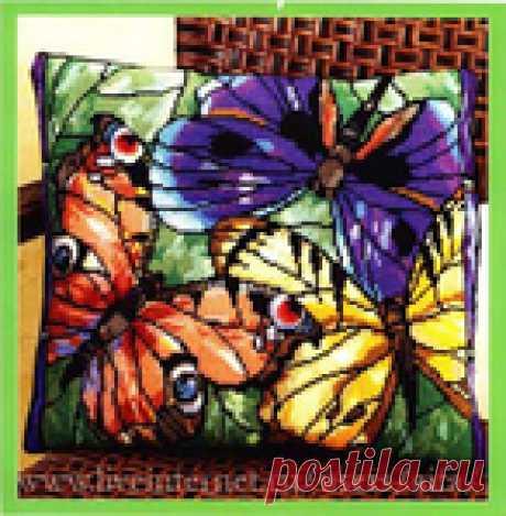 Вышивка крестом, схемы Подушка Бабочки витражные Janlynn