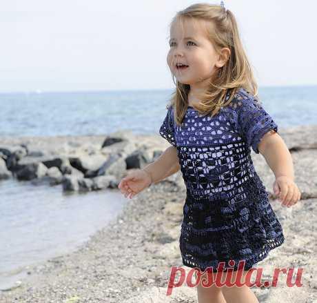 Платье в синих тонах - схема вязания крючком с описанием на Verena.ru