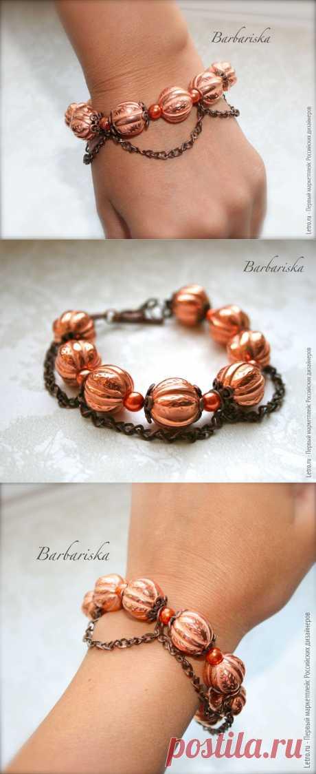 """Браслет """"Марокканский мандарин"""". Кокетливый браслет подчеркнет изящество запястья и дополнит образ. Купить дизайнерское украшение за 500 рублей"""