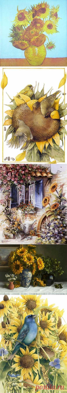 Цветы солнца-подсолнухи. / Картинки для декупажа / PassionForum - мастер-классы по рукоделию