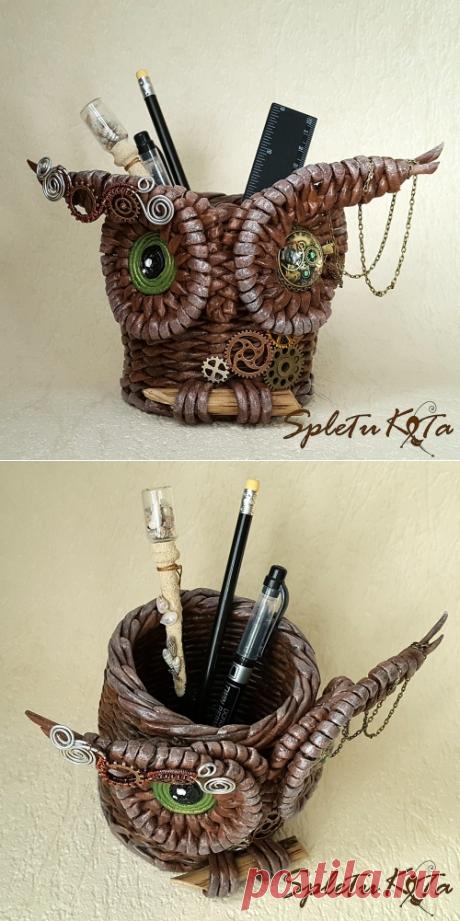 Карандашница Стимпанк-сова из бумажной лозы
