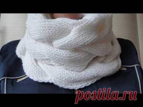 Снуд спицами в один оборот двухсторонним узором. Knitting pattern LIC - YouTube