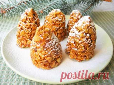 Новогодний десерт «Еловые шишки» (без выпечки)