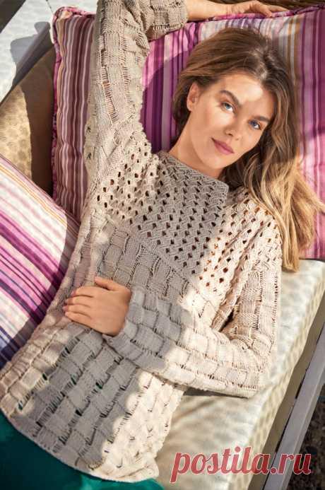 Ажурный пуловер с узором их спущенных петель - SHPULYA.com