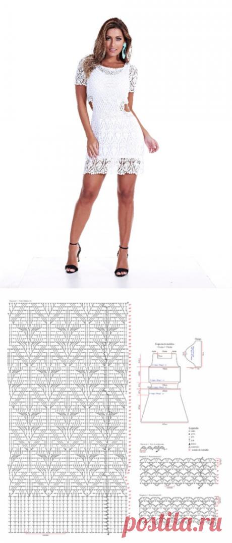 Белое платье крючком ажурным узором. Вязание для лета крючком схемы | Я Хозяйка