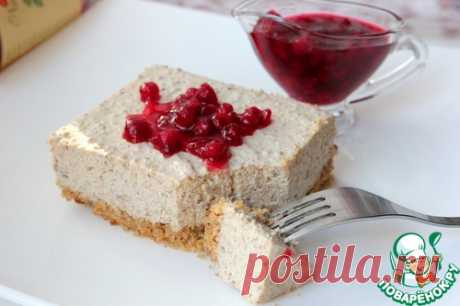 Meat cheesecake with cowberry sauce.