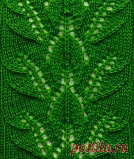 Узоры спицами «Гирлянда листьев» (Вязание спицами) – Журнал Вдохновение Рукодельницы