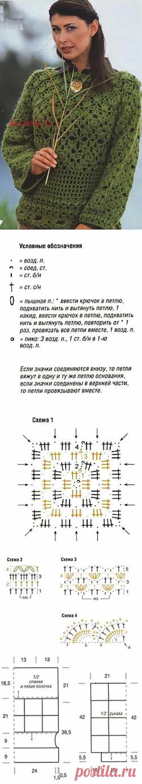 Схема вязания крючком свитера