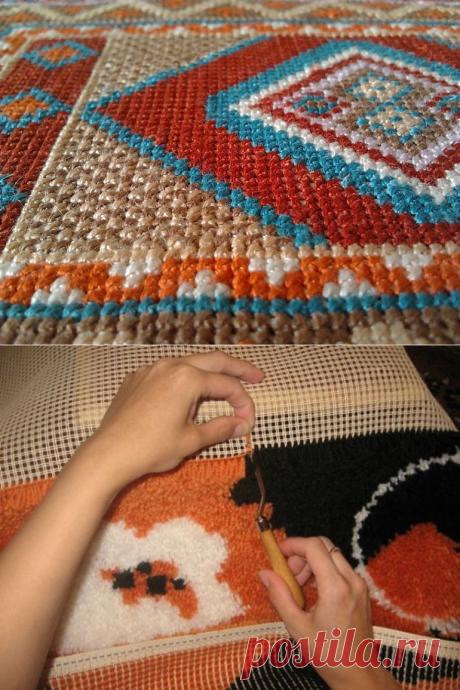 Красивая ручная вышивка ковра: 7 секретов качественного изделия