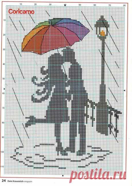 Схема вышивки крестиком. Поцелуй (Вышивка) | Журнал Вдохновение Рукодельницы