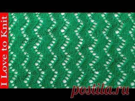 Ажурный узор зиг заг с лицивыми и изнаночными Вязание спицами со схемой и описанием