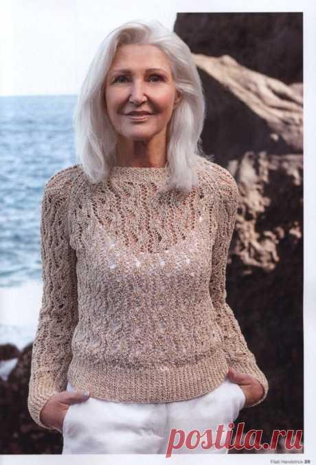 Ажурный пуловер спицами реглан