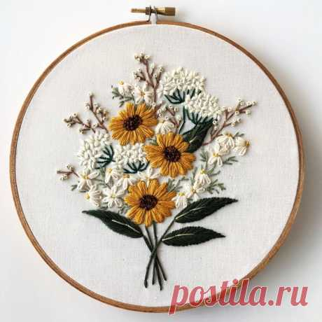Wildflower bouquet, me, hand embroidery, 2019