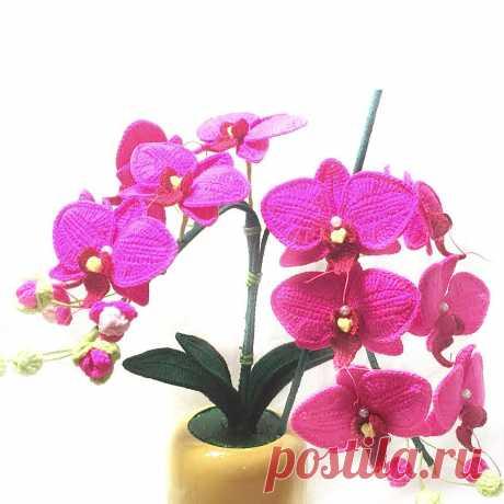 Вязаная орхидея крючком. мастер-классы