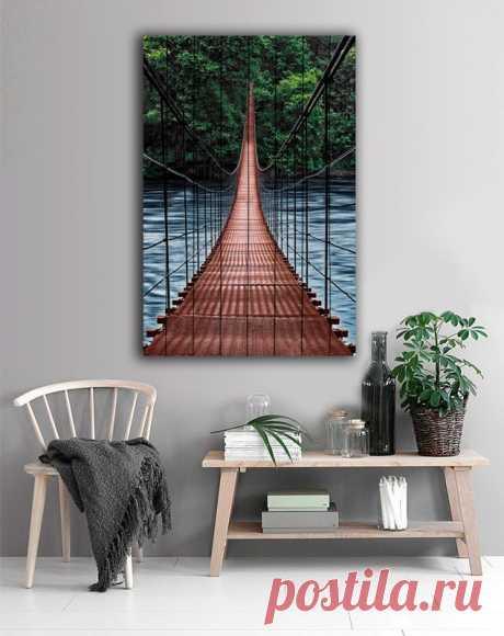 "Картина ""Мост в джунгли"" по цене от 5900 руб. Размеры: 60x90 см, 80x120 см, 100x150 см, 120x180 см. Срок изготовления: 2-3 дня."