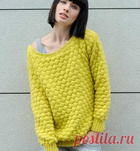 Объёмный яркий пуловер из категории Интересные идеи – Вязаные идеи, идеи для вязания