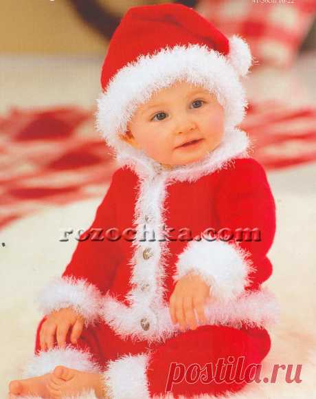 Детский вязаный новогодний костюм санта-клауса | Вяжем малышам
