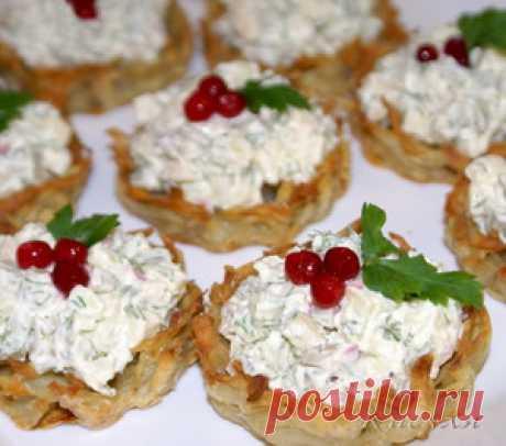Хрустящие картофельные корзиночки с селёдкой рецепт с фотографиями